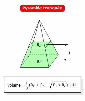 Calculer le volume d 39 une pyramide tronqu e for Calculer le volume d une maison