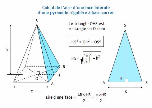 Calculer l 39 aire d 39 une pyramide r guli re base carr e - Comment calculer metre carre ...