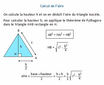 Calculer l 39 aire d 39 un triangle isoc le connaissant sa base et ses deux autres c t s - Comment calculer une superficie ...