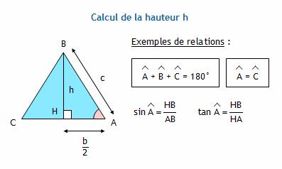 calculer la hauteur d 39 un triangle isoc le connaissant sa base et ses deux autres c t s. Black Bedroom Furniture Sets. Home Design Ideas